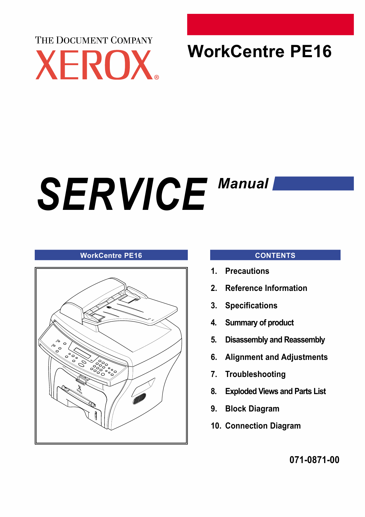 Xerox WorkCentre PE-16 Parts List and Service Manual-1